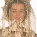 toca y velo de novia de 1850