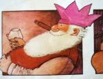 Papá Noel celebrando la Nochebuena